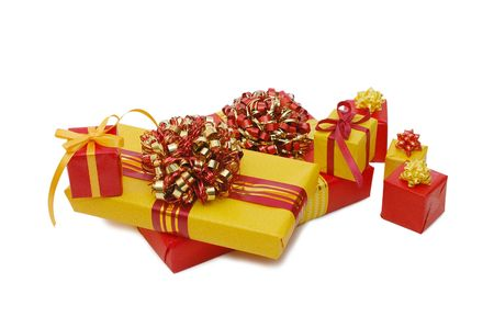 Boxes with gifts isolated on white background photo