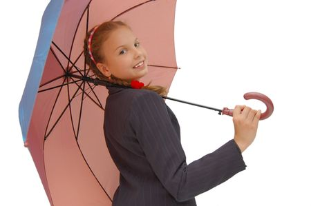 Cute Teenager Girl with a pink Umbrella   photo