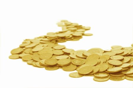 Golden coins isolated on white background Stock Photo - 6005376
