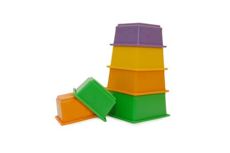stackable: Children colour pyramid isolated on white background   Stock Photo