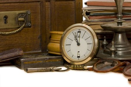 old photographs: Ancient chest and different old things