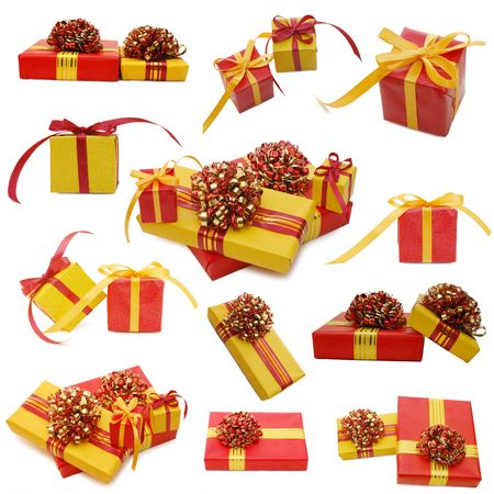 Collage, boxes with gifts isolated on white photo