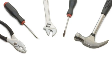 Set of building tools isolated on white  photo