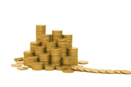Golden coins isolated on white background Stock Photo - 6086251