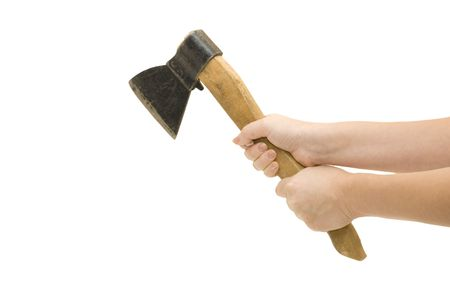 Isolated image of axe in female hand   photo