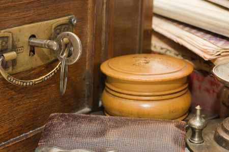 Ancient chest and different old things photo