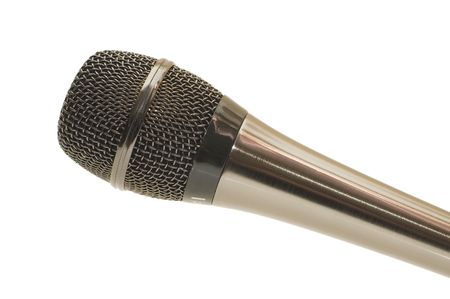 The big black microphone on a white background   photo