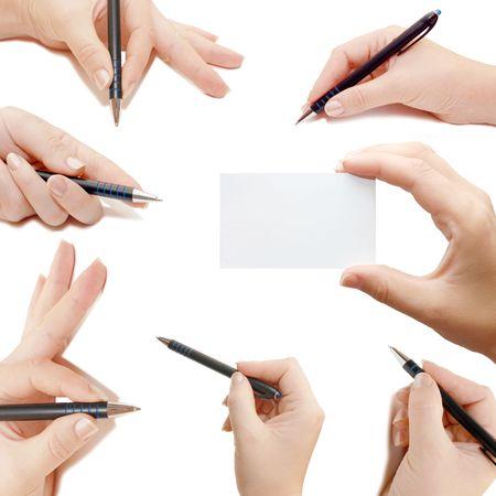 cutaway drawing: Mani femminile, collage, isolate su sfondo bianco