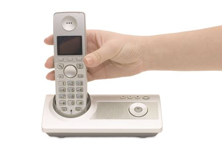 Radio phone in a female hand isolated  photo