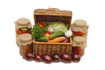 wattled: Fresh,tinned vegetables in a wattled box Stock Photo