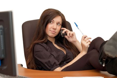 The beautiful young girl at office Stock Photo - 6384549