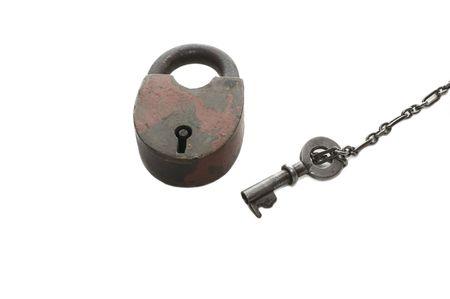 lock and key on white background   photo