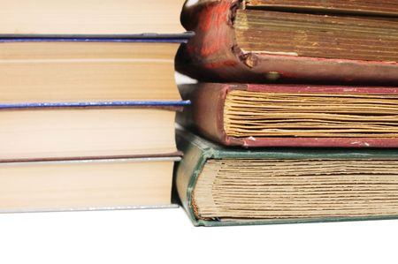Pile of old books isolated on white background Stock Photo - 6433304