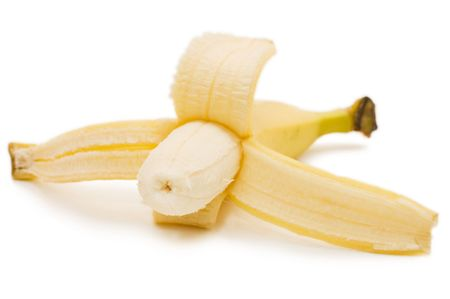 Open banana isolated on white background   photo