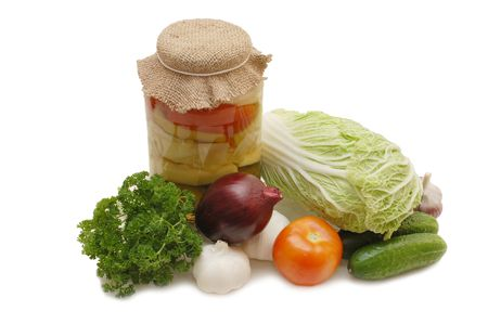 tinned: Fresh and tinned vegetables isolated on white