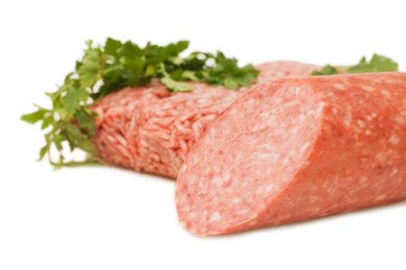 forcemeat: Forcemeat and sausage  isolated on white background