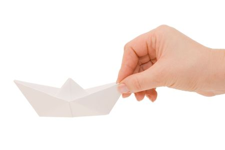 Paper ship in a female hand Stock Photo - 6513395