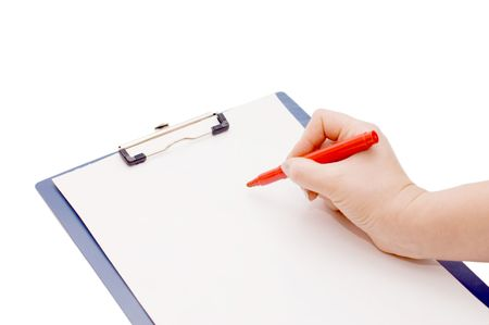 clipboard and hand on a white background Stock Photo - 6515084