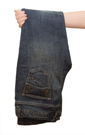 The girl holds jeans in a hand Stock Photo - 6559415