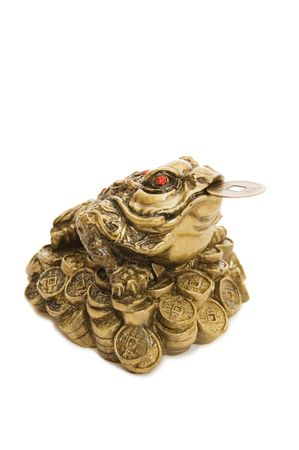 fortunate: Chinese Feng Shui Frog with coins