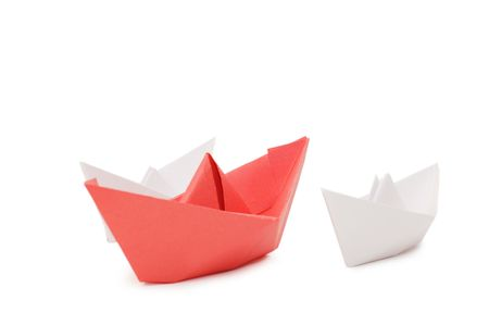Paper ships isolated on white background   photo