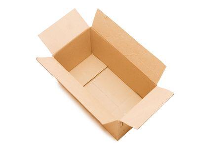 Empty open paper box over white photo