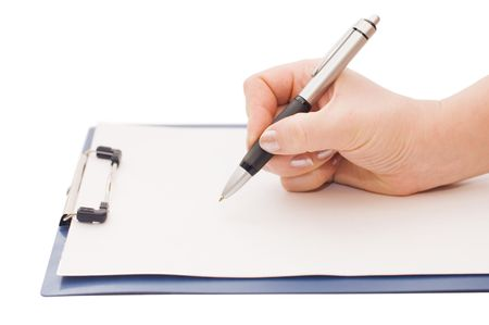 clipboard and hand on a white background Stock Photo - 6624525