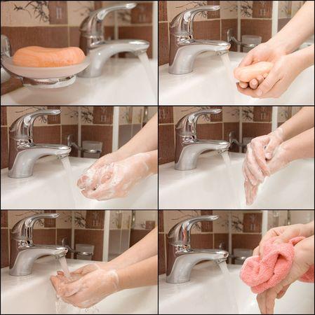 sanitary towel: woman washing hand under running, Collage Stock Photo