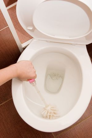hand cleans a toilet bowl in a bathroom Stock Photo - 6629323