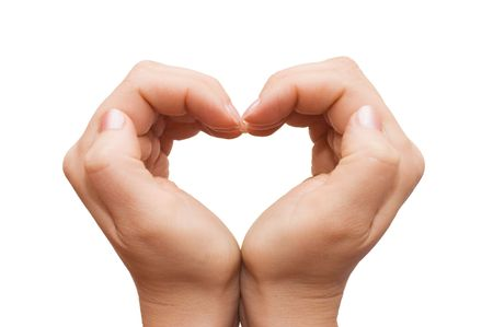 hands forming a heart on white background Stock Photo - 6667107