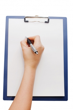 clipboard and hand on a white background
