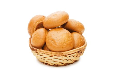 wattled: Rolls in a wattled basket isolated on white   Stock Photo
