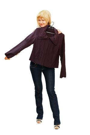 tries: The girl tries on clothes isolated  Stock Photo