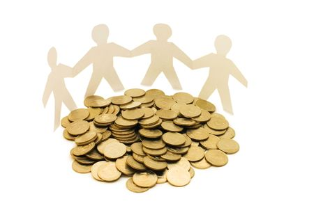 Paper little men with money photo