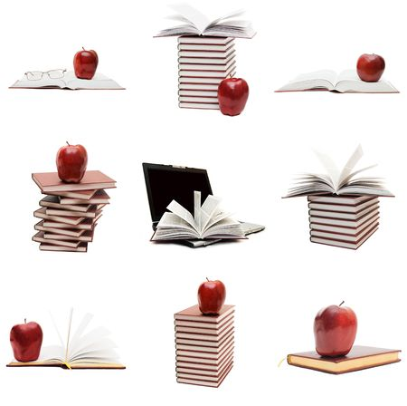 Collage from books and an apple photo