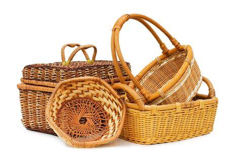 spliced: Wattled basket isolated on white background Stock Photo