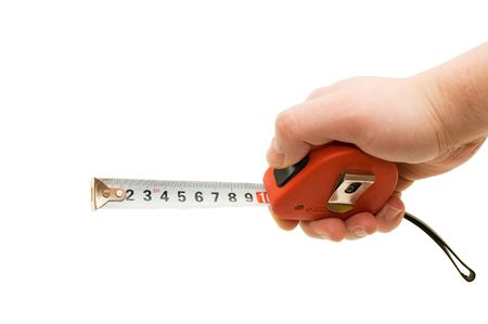 Measuring tape in a man hand photo