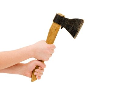 Isolated image of axe in man hand photo