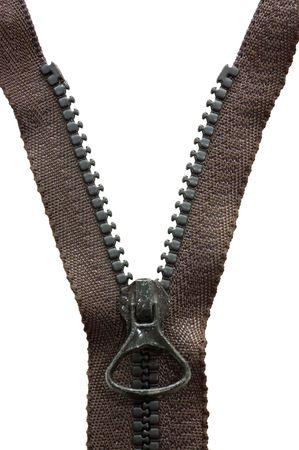 unzipped: Unzipped black metal zipper on white background Stock Photo