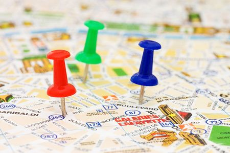 Color pushpins marking a location  photo
