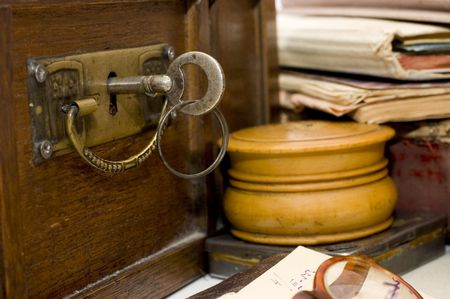 Ancient chest and different old things Stock Photo - 6818138