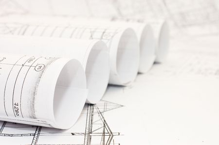 architecture project: Rolls of Engineering Drawings Stock Photo