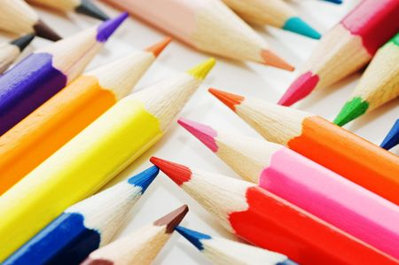 Color pencils collection with colors mixed