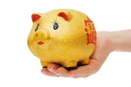 Piggy bank and hand with coin isolated Stock Photo - 6994748