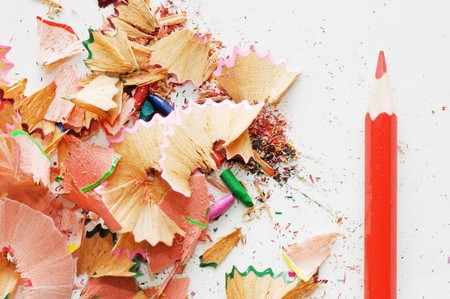 Colorful pencil and wood shavings photo