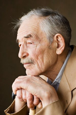mature old generation: Old man with moustaches in a jacket  Stock Photo