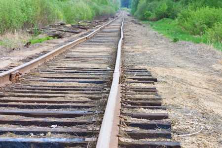 old railway track in the forest Stock Photo - 7016488