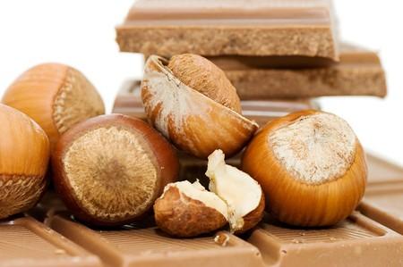 Chocolate and hazelnuts on white background  photo