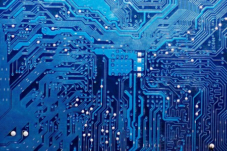 Close up of computer circuit board in blue  Stock Photo - 7016489