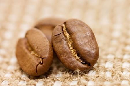 flay: coffee bean on sacking  Stock Photo